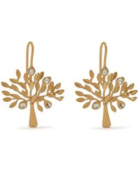 Mulberry - Tree Dropped Earrings In Brass Metal And Swarovski Crystal - Lyst