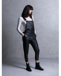 Muubaa - Dorion Black Leather Dungarees - Lyst