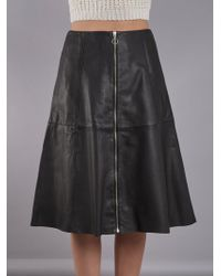 Muubaa - Lotus Black Leather Midi Skirt - Lyst