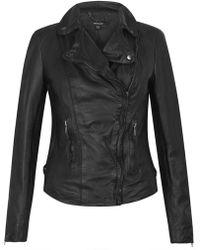 Muubaa - Monteria Black Leather Biker Jacket - Lyst
