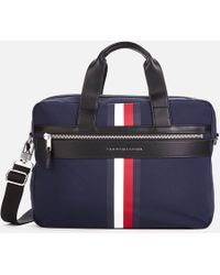 Tommy Hilfiger - Laptop Bag With Icon Stripe And Faux Leather Contrasts In Navy - Lyst
