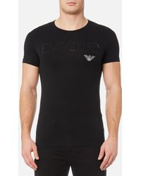 Emporio Armani - Stretch Cotton Crew Neck T-shirt - Lyst