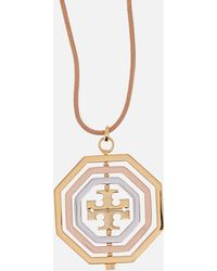 Tory Burch - Logo Spinner Pendant Necklace - Lyst