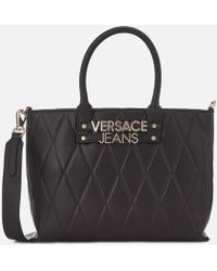 Lyst - Versace Jeans Faux-leather Croc-embossed Large Tote Bag in Black 0c780c3217