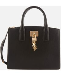 DKNY - Black And Gold Grained Elissa Leather Tote Bag - Lyst