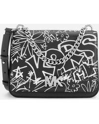 MICHAEL Michael Kors - Graffiti Calia Leather Cross Body Bag - Lyst