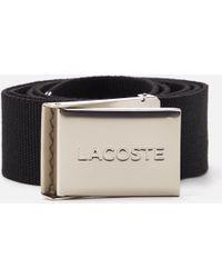 Lacoste - Textile Signature Croc Logo Belt - Lyst