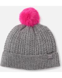 Joules - Bobble Hat Fine Cable With Faux Fur Pom - Lyst