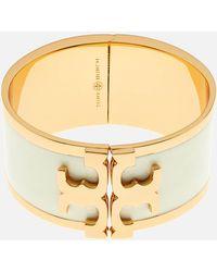 Tory Burch - Enamel Raised Logo Wide Cuff Bracelet - Lyst