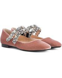 N°21 - Kukka Embellished Velvet Ballerinas - Lyst