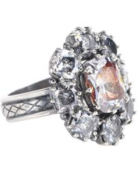 Bottega Veneta - Crystal-embellished Silver Ring - Lyst