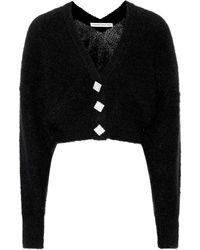 Alessandra Rich - Crystal button mohair blend cardigan - Lyst