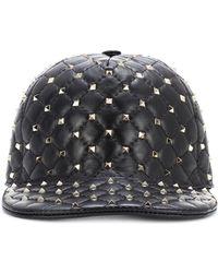Valentino - Rockstud Spike Leather Cap - Lyst