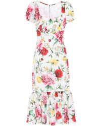 Dolce & Gabbana - Printed Stretch Silk Dress - Lyst