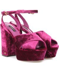 Dolce & Gabbana - Keira Velvet Plateau Sandals - Lyst