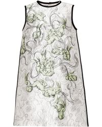 Prada - Printed Silk-blend Dress - Lyst