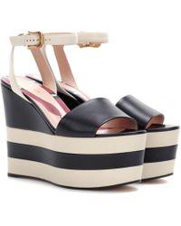Gucci - Leather Platform Sandals - Lyst