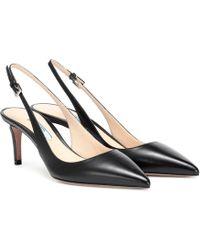 b9e43f0255a Prada Logo Bow-embellished Kitten-heel Leather Pumps in Black - Lyst