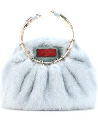 Valentino - Bebop Loop Mink Fur Clutch - Lyst
