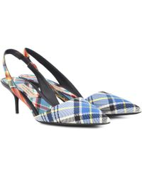 Burberry - Annice Mid Height Tweed Slingback Pumps In Poppy Orange Cotton And Leather - Lyst