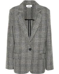 Étoile Isabel Marant Charly Checked Wool Blazer - Gray