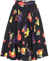 MSGM - Printed Cotton Skirt - Lyst