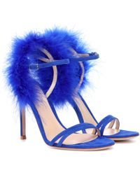 Gianvito Rossi - Thais Feather-trimmed Suede Sandals - Lyst