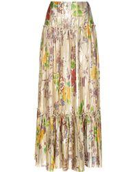 Etro - Pleated Metallic Silk Skirt - Lyst