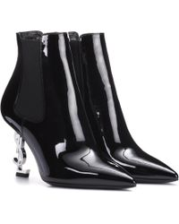 Saint Laurent | Opyum 85 Patent Leather Ankle Boots | Lyst
