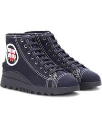 Miu Miu - High-top Canvas Sneakers - Lyst
