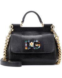 c54ed982f9a4 Dolce   Gabbana Sicily Medium Quilted Leather Shoulder Bag in Black ...