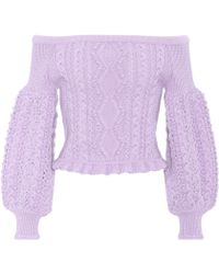 Valentino - Cropped Off-the-shoulder Wool Jumper - Lyst
