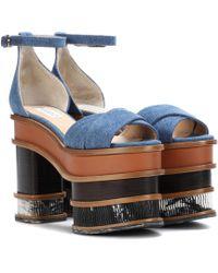 Gabriela Hearst - Charlie Denim Plateau Sandals - Lyst