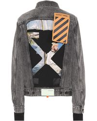 593a3871a0fbb Lyst - Off-White c o Virgil Abloh Cropped Embroidered Printed Denim ...