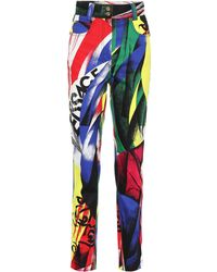 Versace - Printed High-waisted Jeans - Lyst