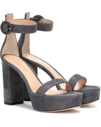 Gianvito Rossi - Suede Plateau Sandals - Lyst