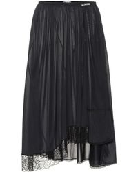 Balenciaga - Lace-trimmed Jersey Skirt - Lyst