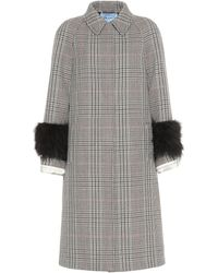 Prada - Feather-trimmed Wool-blend Coat - Lyst