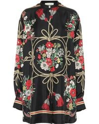 2b112362975b1c Gucci - Intrigue Floral And Tassel Print Button-front Blouse - Lyst
