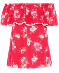 Athena Procopiou - Floral-printed Off-the-shoulder Silk Top - Lyst