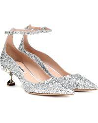 331fae6e61 Miu Miu Metallic Leather Bow Glitter Heel Loafer Pumps in Metallic ...