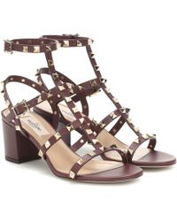 443463c602 Valentino Rockstud Block Heel Leather Sandals in Natural - Lyst