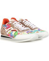 Etro - Printed Leather And Suede Trainers - Lyst