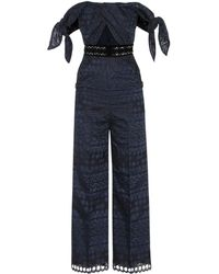 Self-Portrait - Tie Detail Guipure Lace Jumpsuit - Lyst