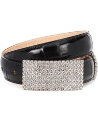 Alessandra Rich - Crystal Leather Belt - Lyst