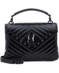 44557187dee Lyst - Saint Laurent Large Collège Monogram Leather Shoulder Bag in Gray