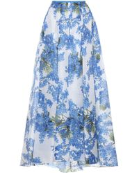 Carolina Herrera - Falda de seda con estampado floral - Lyst