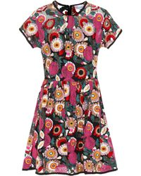 75546e35b818 RED Valentino Floral-embroidered Dress in Black - Lyst