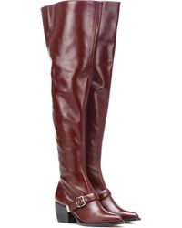 b06b8e05adb Lyst - Chloé Over-the-knee Leather Boots in Red