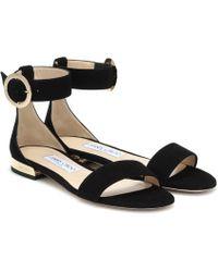 Jimmy Choo - Jamie Flat Suede Sandals - Lyst